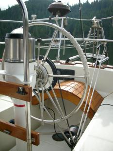 Monitor windvane lines to helm